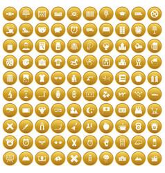 100 alarm clock icons set gold vector