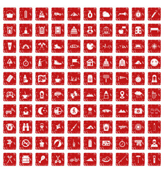 100 family camping icons set grunge red vector