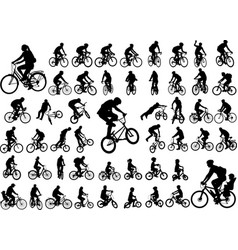 50 high quality bicyclists silhouettes collection vector