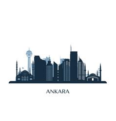 Ankara skyline monochrome silhouette vector