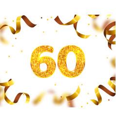 Anniversary banner 60th gold ribbon fly vector