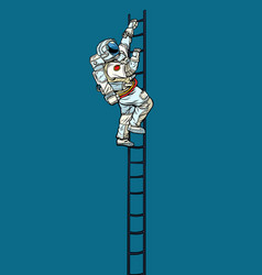 astronaut climbs stairs vector image