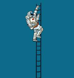 Astronaut climbs stairs vector