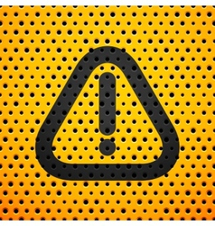 Attention black sign on yellow metal texture with vector image