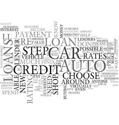 Auto loans in steps text word cloud concept vector