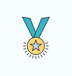 award honor medal rank reputation ribbon flat vector image