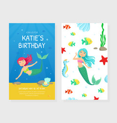 birthday party card template with cute mermaids vector image