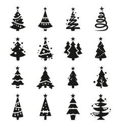 Black icon set of christmas tree vector
