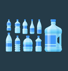 bottle plastic set blue capacity bottled liquid vector image