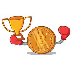 Boxing winner bitcoin coin character cartoon vector