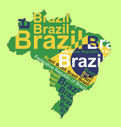 Brazilian flag in brazil map vector