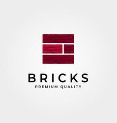 Brick stone construction logo vintage design vector