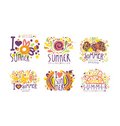 bright summer labels with original design vector image