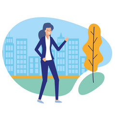 business woman character park city street vector image