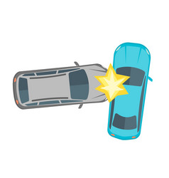 Cartoon car crash road accident vector