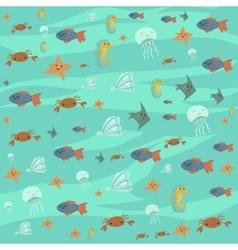 cartoon flat ocean stuff background vector image