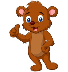 Cartoon teddy bear giving thumb up vector image