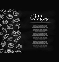 Chalkboard menu background with bakery products vector