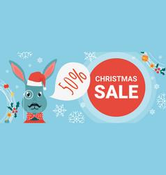 Christmas sale cartoon bunny rabbit wearing santa vector