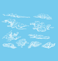 clouds set hand drawn in engraving style vector image
