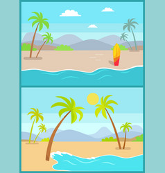 coastline poster tropical beach sea sand palm vector image