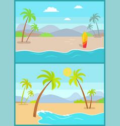 Coastline poster tropical beach sea sand palm vector