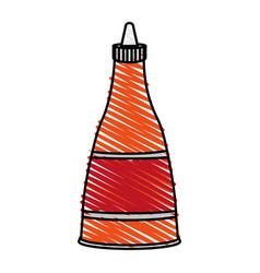 color crayon stripe cartoon red jar sauce with vector image