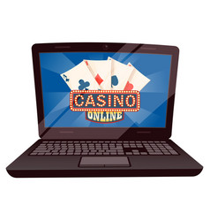 Computer with playing cards casino online vector