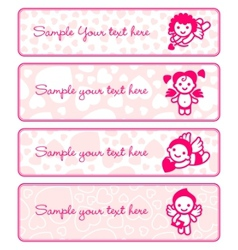 Cupids banner set collection angels vector