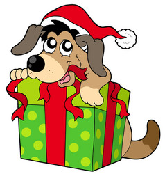 cute dog in santas hat vector image