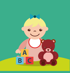 cute little girl and teddy bear blocks alphabet vector image