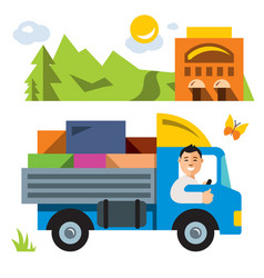 delivery service flat style colorful vector image