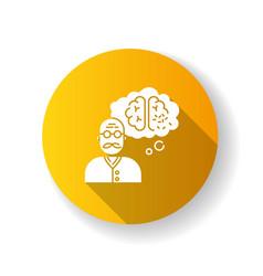 Dementia yellow flat design long shadow glyph icon vector