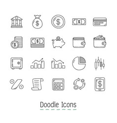 doodle financial icons vector image