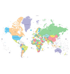 dotted political world map with capitals vector image