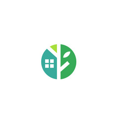 eco house home treehouse mortgage real estate logo vector image