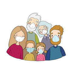 family in white medical face mask for prevent vector image