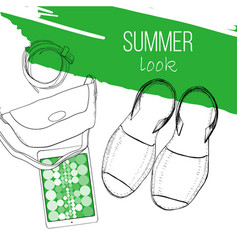 fashion summer flat lay with vector image