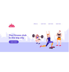 fitness center landing page vector image