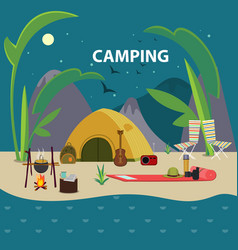 Flat camping template vector