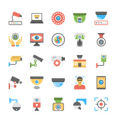 flat cctv cameras icons set vector image