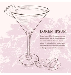 French Martini scetch cocktail vector image