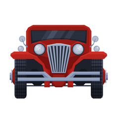 Front view red retro car vintage vehicle flat vector