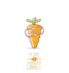 Funny cartoon cute carrot character vector