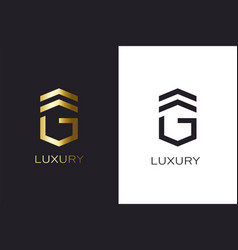 g initial letter gold style logo creation vector image