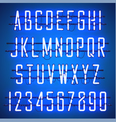 glowing blue neon casual script font vector image