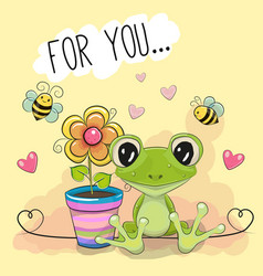 Greeting card cute cartoon frog with flower vector