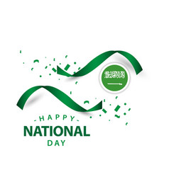 Happy saudi arabia national day template design vector