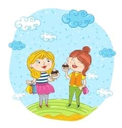 Happy young women cartoon characters vector