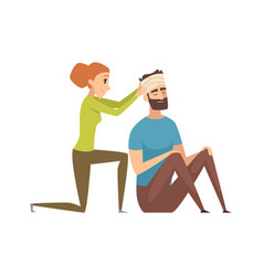 Head injury man with bandage needs help nursing vector